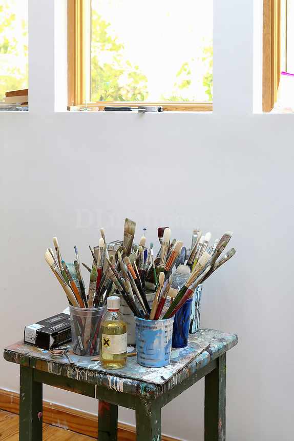 Brushes on the stool