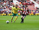 James Maddison of Norwich City in action with John Fleck of Sheffield Utd  during the Championship match at Bramall Lane Stadium, Sheffield. Picture date 16th September 2017. Picture credit should read: Jamie Tyerman/Sportimage