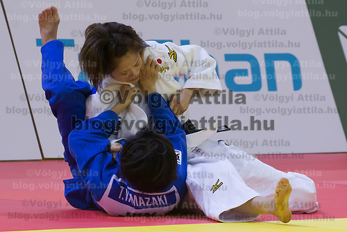 Hiromi Endo (in white) of Japan and Tamami Yamazaki (in blue) of Japan fight during the Women -48 kg category at the Judo Grand Prix Budapest 2018 international judo tournament held in Budapest, Hungary on Aug. 10, 2018. ATTILA VOLGYI