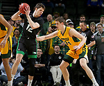 SIOUX FALLS, SD - MARCH 10: Filip Rebraca #12 of the North Dakota Fighting Hawks looks to make a move against Rocky Kreuser #34 of the North Dakota State Bison during the men's championship game at the 2020 Summit League Basketball Tournament in Sioux Falls, SD. (Photo by Dave Eggen/Inertia)