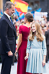 King Felipe VI, Queen Letizia and Princess of Asturias Leonor (r) arrive to Teatro Campoamor for Princess of Asturias Awards 2019 in Oviedo. October 18, 2019 (Alterphotos/ Francis Gonzalez)