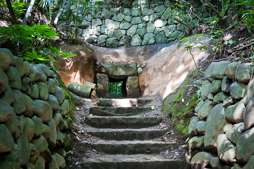 700 year old Ancient tomb called a Kofun  in Tokyo`s Todoroki valley.