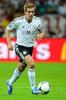 WARSAW, POLONIA, 28 JUNHO 2012 - EURO 2012 - ALEMANHA X ITALIA - Phillipp Lahm jogador da Alemanha durante lance em jogo contra a Italia, em partida pelas semi-finais da Euro 2012 em Warsaw na Polonia nesta quinta-feira, 28. (FOTO: PIXATHLON / BRAZIL PHOTO PRESS).