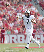 NWA Democrat-Gazette/J.T. WAMPLER TCU's Kenny Hill makes a pass Saturday Sept. 9, 2017 at Donald W. Reynolds Razorback Stadium in Fayetteville. Arkansas lost 28-7.