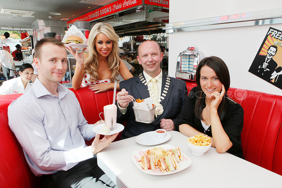 25/8/2011.Matt and Kelly Finn the first Eddie rockets franchisee in Kildare are pictured with Kildare Mayor, Clr Michael Nolan, Model Tiffany Stanley at the opening of the new Eddie Rockets City Diner in Nass Co Kildare. Picture James Horan/Collins Photos