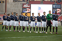 USA starting eleven during the national anthem at Pizza Hut Park in Frisco, Texas, Sunday, Feb. 19, 2005.  USA won 4-0.