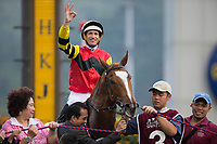 SHA TIN,HONG KONG-MAY 07: Lucky Bubbles,ridden by Hugh Bowman,wins the Chairman's Sprint Prize at Sha Tin Racecourse on May 7,2017 in Sha Tin,New Territories,Hong Kong (Photo by Kaz Ishida/Eclipse Sportswire/Getty Images)