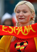 14.06.2012, GDANSK, Poland. EURO 2012, FOOTBALL EUROPEAN CHAMPIONSHIP, SPAIN versus IRELAND, Spanish female fan in fancy dress and team colours