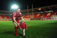 Scarlets' Ken Owens with his son at full time <br /> <br /> Photographer Ashley Crowden/CameraSport<br /> <br /> Guinness PRO12 Round 19 - Scarlets v Benetton Treviso - Saturday 8th April 2017 - Parc y Scarlets - Llanelli, Wales<br /> <br /> World Copyright &copy; 2017 CameraSport. All rights reserved. 43 Linden Ave. Countesthorpe. Leicester. England. LE8 5PG - Tel: +44 (0) 116 277 4147 - admin@camerasport.com - www.camerasport.com