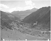 RGS freight approaching Vance Junction taken from road to Telluride at about 1/2 mile distant.<br /> RGS  Vance Junction, CO  Taken by Gerbaz, Del H. - ca 1951