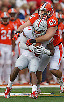 Ohio State Buckeyes wide receiver Philly Brown (10) makes a reception in front of Illinois Fighting Illini defensive lineman Houston Bates (55) at Memorial Stadium in Champaign, Illinois on November 16, 2013.  (Chris Russell/Dispatch Photo)