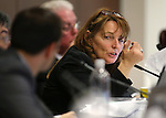 Nevada Assembly Minority Leader Marilyn Kirkpatrick, D-North Las Vegas, talks with Assembly Taxation Chairman Derek Armstrong during a committee hearing at the Legislative Building in Carson City, Nev., on Thursday, May 27, 2015. <br /> Photo by Cathleen Allison