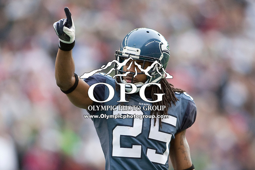 Dec 24, 2011:  Seattle's #25 Richard Sherman against San Francisco at Century Link Stadium in Seattle WA.  San Francisco defeated Seattle 19-17.