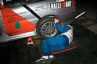 Geoff Gallagher checks his cars differential at Craignure service.