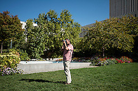 A tourist take photos at Temple Square in Salt Lake City, Utah, Monday, October 1, 2012. ..Photo by Matt Nager