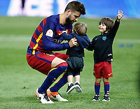 FC Barcelona´s  defense Gerard Pique celebrating afer winning the final of Copa del Rey