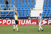 12th July 2020; Estadio Municipal de Butarque, Madrid, Spain; La Liga Football, Club Deportivo Leganes versus Valencia; Jonathan Silva (CD Leganes) is shown a red card and sent off by the referee