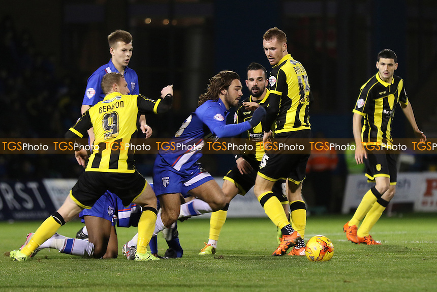 Bradley Dack of Gillingham manages to win possession of the ball during Gillingham vs Burton Albion, Sky Bet League 1 Football at the MEMS Priestfield Stadium, Gillingham, England on 12/12/2015
