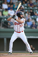 Designated hitter Devlin Granberg (17) of the Greenville Drive bats in a game against the West Virginia Power on Friday, May 17, 2019, at Fluor Field at the West End in Greenville, South Carolina. West Virginia won, 10-4. (Tom Priddy/Four Seam Images)