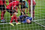 01.12.2019, Borussia Park , Moenchengladbach, GER, 1. FBL,  Borussia Moenchengladbach vs. SC Freiburg,<br />  <br /> DFL regulations prohibit any use of photographs as image sequences and/or quasi-video<br /> <br /> im Bild / picture shows: <br /> Nachschuss 11 Meter Ramy Bensebaini (Gladbach #25),  und Laszlo Benes (Gladbach #22), haelt Mark Flekken Torwart (Freiburg #26), auch und kollidiert mit dem Pfosten<br /> <br /> Foto © nordphoto / Meuter1