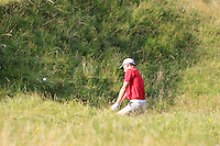 Jack Davidson (WAL) in the rough on the 14th during the Afternoon Singles between Ireland and Wales at the Home Internationals at Royal Portrush Golf Club on Thursday 13th August 2015.<br /> Picture:  Thos Caffrey / www.golffile.ie