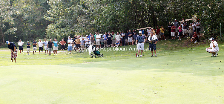 Waterbury, CT- 04, September 2011-090411CM10 Tommy Dorso Jr chips onto the 8th green during the annual Rep-Am Golf Tournament at Western Hills Golf Course in Waterbury Sunday afternoon.   Rudy Hermstadt won the tournament. Christopher Massa Republican-American