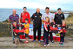 Paul Boyd (General Manager Fishermen's Co-op), Pat Lynch (Dreadnots), Colin Kelly (Manager Dreadnots), Barry Faulkner (Fishermen's Co-op) and Padraic Smyth (Dreadnots) with Dreadnots Under-Age Kids Rian Keogh, Donnacha Skinnader, Ella Carter and Anna Sharkey during the Clogherhead Fishermen's Co-op Ltd sponsorship with the Dreadnots GFC on Tuesday 19th August 2014.<br /> Picture:  Thos Caffrey / www.newsfile.ie