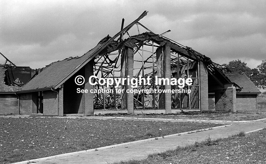 Burnt-out shell of Craighill Roman Catholic Church near Larne, N Ireland, UK. The incident, almost certainly the work of loyalists, happened on the first annivarsary of the church's re-opening with new premises. 197505240611..Copyright Image from Victor Patterson, 54 Dorchester Park, Belfast, UK, BT9 6RJ..Tel: +44 28 9066 1296.Mob: +44 7802 353836.Voicemail +44 20 8816 7153.Skype: victorpattersonbelfast.Email: victorpatterson@me.com.Email: victorpatterson@ireland.com (back-up)..IMPORTANT: If you wish to use this image or any other of my images please go to www.victorpatterson.com and click on the Terms & Conditions. Then contact me by email or phone with the reference number(s) of the image(s) concerned.