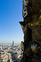 Downtown Barcelona in Spain as seen from one of the towers of the Sagrada Familia.