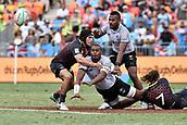2nd February 2019, Spotless Stadium, Sydney, Australia; HSBC Sydney Rugby Sevens; England versus Fiji; Josua Vakurunabili of Fiji manages to pass the ball as he is tackled by Dan Bibby of England