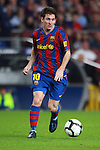 Football Season 2009-2010. Barcelona's player Lionel Messi during their Spanish first division soccer match at Camp Nou stadium in Barcelona October 25, 2009