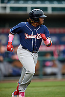 New Hampshire Fisher Cats third baseman Vladimir Guerrero Jr. (27) runs to first base during the second game of a doubleheader against the Harrisburg Senators on May 13, 2018 at FNB Field in Harrisburg, Pennsylvania.  Harrisburg defeated New Hampshire 2-1.  (Mike Janes/Four Seam Images)