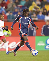 New England Revolution midfielder Shalrie Joseph (21). The New England Revolution defeated the New York Red Bulls 1-0 (1-0 aggregate score) in the second game of the MLS Eastern Conference Semifinal Series at Gillette Stadium in Foxborough, MA on November 3, 2007.