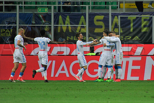 April 30th 2017, San Siro Stadium, Milan, Italy;  teammates of Josè Maria Callejon of Napoli celebrate their first goal in the 43rd  minute during the Serie A football match, Inter Milan versus Napoli;