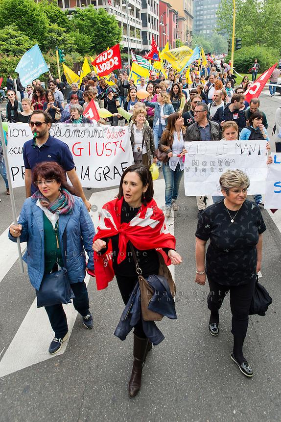 Sciopero della scuola contro il disegno di legge &quot;La buona scuola&quot; promosso dai sindacati. Milano, 5 maggio, 2015.    <br /> School strike against the draft law &quot;The good school&quot; promoted by the unions. Milan, May 5, 2015.