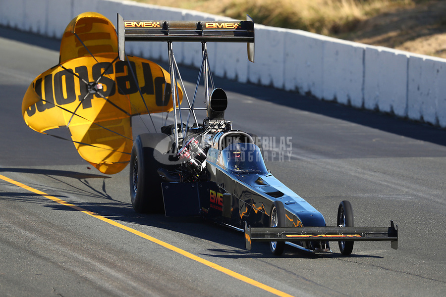 Jul 29, 2017; Sonoma, CA, USA; NHRA top fuel driver Troy Buff during qualifying for the Sonoma Nationals at Sonoma Raceway. Mandatory Credit: Mark J. Rebilas-USA TODAY Sports