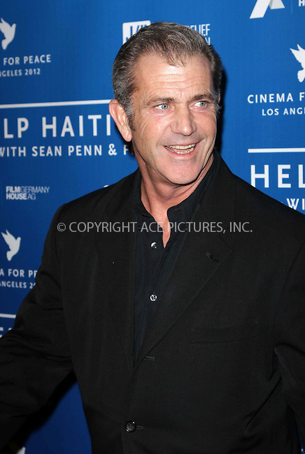 WWW.ACEPIXS.COM . . . . .  ..... . . . . US SALES ONLY . . . . .....January 14 2012, LA....Mel Gibson at the Cinema for Peace event benefiting the J/P Haitian Relief Organization held at Montage on January 14 2012 in Los Angeles....Please byline: FAMOUS-ACE PICTURES... . . . .  ....Ace Pictures, Inc:  ..Tel: (212) 243-8787..e-mail: info@acepixs.com..web: http://www.acepixs.com