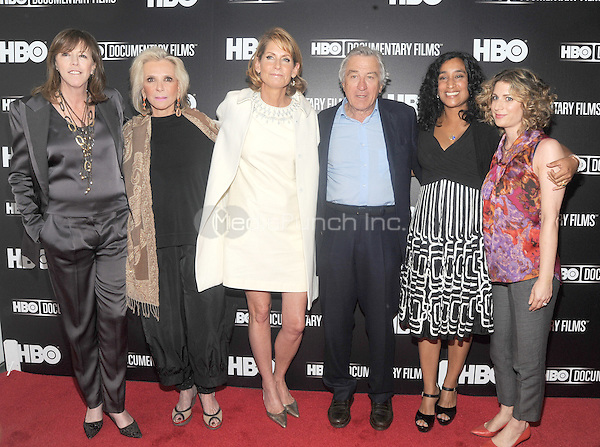 "New York, NY-June 5: Jane Rosenthal, Sheila Nevins, Perri Petlz, Robert DeNero, Geeta Gandbhir and Sara Bernstein  attend ""Remembering The Artist: Robert DeNero Sr."" New York Premiere ar the Museum Of Modern Art on June 5, 2014 in New york City. (C) Credit: John Palmer/MediaPunch"