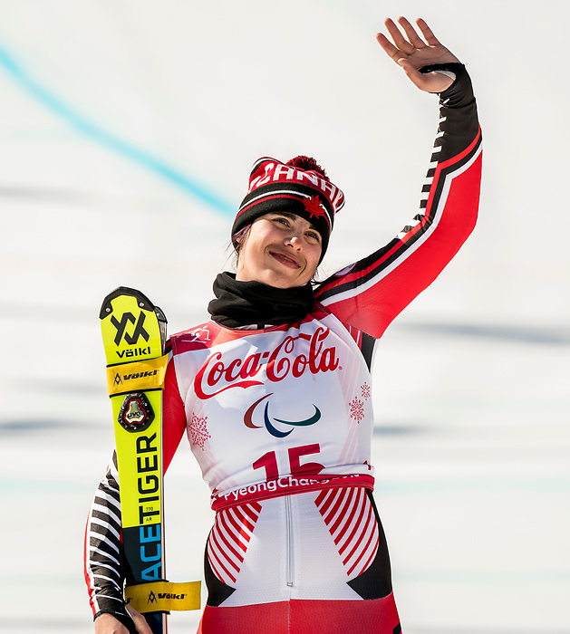PyeongChang 11/3/2018 - Alana Ramsay skis to the bronze in the women's standing super-G at the Jeongseon Alpine Centre during the 2018 Winter Paralympic Games in Pyeongchang, Korea. Photo: Dave Holland/Canadian Paralympic Committee