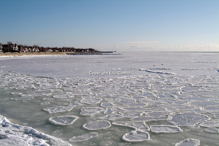 Sea ice freezes in Clark's Cove, New Bedford, MA