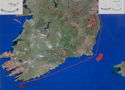 The 270-mile course. The most rugged section is likely to be off southeast Ireland getting past the Tuskar Rock, Carnsore Point and the Saltee Islands.