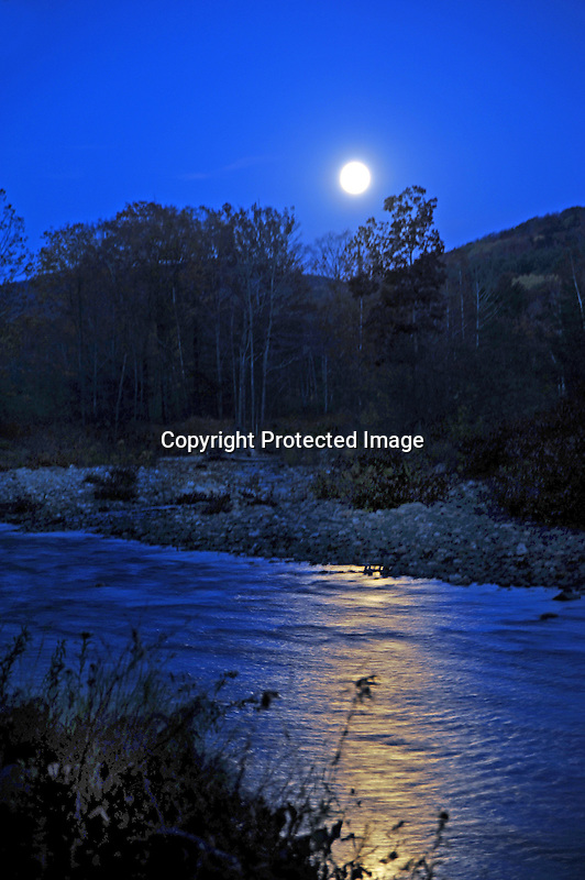 Harvest Moon Shining on the Cold River in Langdon, New Hampshire USA