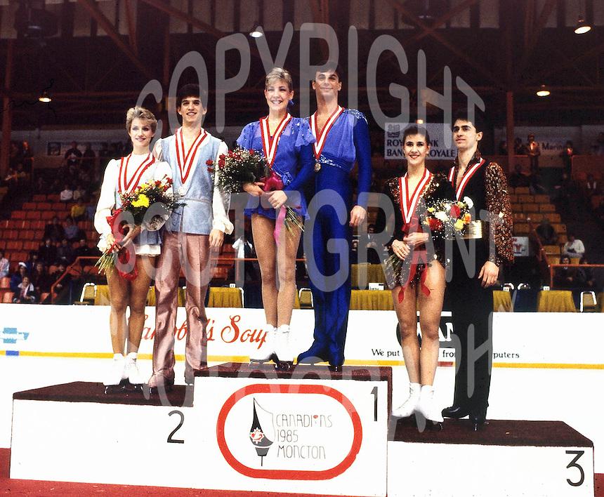 1985 Canadian Figure Skating Championships. Senior Dance Medalists. Karyn Garossino/Rod Garossino, Tracy Wilson/Rob McCall, Isabelle Duchesnay/Paul Duchesnay. Photo copyright Scott Grant