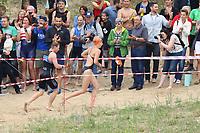 Schimmer der 1. Startergruppe steigen unter dem Applaus der Zuschauer aus dem Wasser und laufen zur Wechselstation - Mörfelden-Walldorf 16.07.2017: 9. MöWathlon