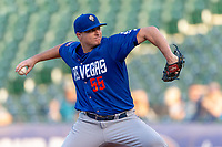 Corey Oswalt (55) of the Las Vegas 51s pitching during a game against the Oklahoma City Dodgers at Chickasaw Bricktown Ballpark on June 17, 2018 in Oklahoma City, Oklahoma. Oklahoma City defeated Las Vegas 5-3  (William Purnell/Four Seam Images)