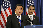 Chicago, IL - December 3, 2008 -- United States Secretary of Commerce designee and New Mexico Governor Bill Richardson (L) addresses reporters as President-elect Barack Obama stands by his side at news conference in Chicago on December 3, 2008. .Credit: Brian Kersey - Pool via CNP