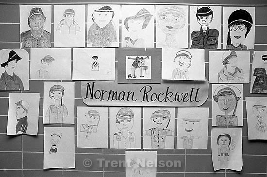 Student art exhibits at Sunset View Elementary.<br />