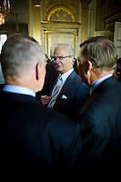The King Carl XVI Gustaf of Sweden at the Leadership Semminar 2011 at Stockholm castle.