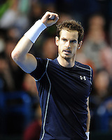 Andy Murray (GB), MARCH 06, 2016 - Tennis : Andy Murray (GB) celebrates winning the first set during the Davis Cup by PNB Paribas , World Group first round fourth rubber between Great Britain and Japan at The Barclaycard Arena, Birmingham, United Kingdom. (Photo by Rob Munro/AFLO)