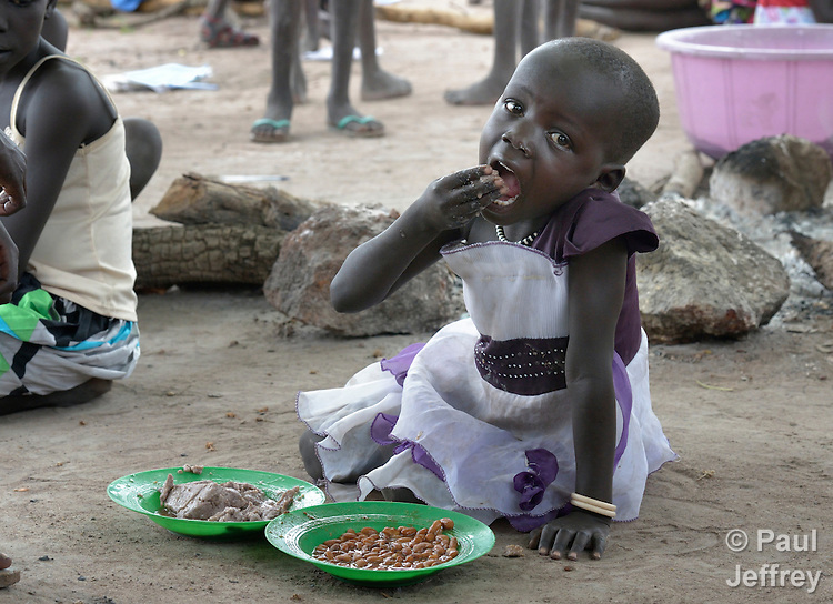 A girl eats lunch at the Loreto Primary School in Rumbek, South Sudan. The school is run by the Institute for the Blessed Virgin Mary--the Loreto Sisters--of Ireland.